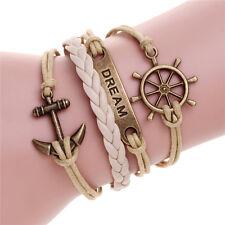 "Fashion Bronze Anchor Rudder Bar ""Dream"" Beige Leather Braided Charm Bracelet"