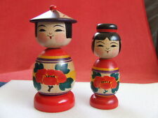 New Japanese wooden dolls 2 kokeshis Abo Muchihide Tsugaru dragonfly kasa mage