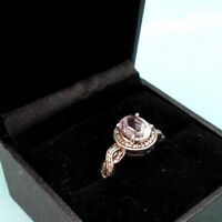 BNIB 10 x 8mm 3.02ct PINK KUNZITE SOLITAIRE .925 STERLING SILVER RING UK P US 8