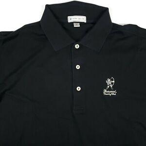 Peter Millar Solid Black Sherwood Country Club Mens Size Medium Polo Shirt