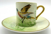 Weisley China hand painted bird Demitasse cup and saucer