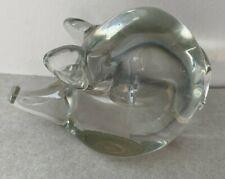 """Art Glass Pig Hog Paperweight clear 2.75"""" tall 4"""" long long snout"""