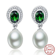 Free Box Emerald Fresh Water Pearl 100% 925 Sterling Silver Dangle Drop Earrings