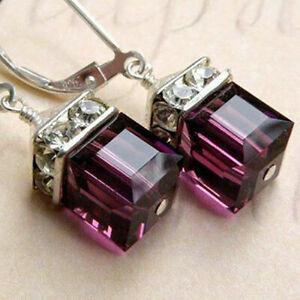 Vintage Women Gemstone Amethyst Wedding Engagement Earrings 925 Silver Jewelry