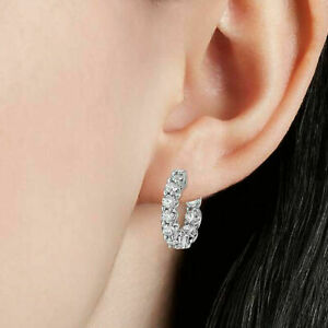 1.00 Carat Round Cut Natural Diamond Hoops 14K Solid White Gold Women's Earrings