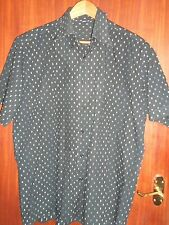 black short sleeved cotton shirt size 42 collared; white, blue & brown squares