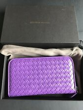 NWT Authentic Bottega Veneta BV Women's Zip Around Wallet In Purple Leather