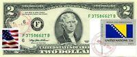 $2 DOLLARS 1995 STAMP CANCEL POSTAL FLAG FROM BOSNIA & HERZEGOVINA VALUE $150