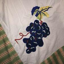 "Vintage Linen Cotton Tablecloth 74"" x 57"" Green Striped Border Fruit Appliques'"