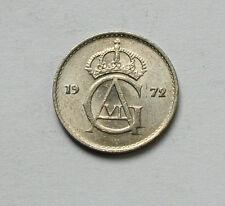 1972 SWEDEN Gustav VI Monogram Coin - 10 Ore - AU+ toned lustre - tiny 15mm size
