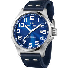 TW STEEL Pilot Sunray Blue Dial Stainless Steel Blue Leather Men's Watch