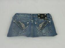 """Miss Me Dark Blue Denim Straight Leg Zipper Fly Low Rise """"Wings"""" Jeans Size 26"""