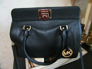 Michael Kors Black Leather Duffle Satchel Doctor's Bag ~NICE~