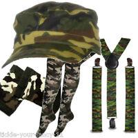 Womens Army Soldier Kit Cap Braces Socks Wristbands Fancy Dress Camouflage Camo