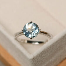 14K White Gold Rings 2.00 Ct Round Cut Natural Aquamarine Engagement Ring Size N