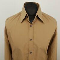HUGO BOSS Mens Shirt LARGE Long Sleeve Brown Slim Fit No Pattern Cotton