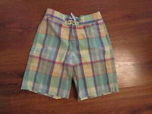 Boys POLO RALPH LAUREN Plaid Swin Trunks Shorts Size L 14 16