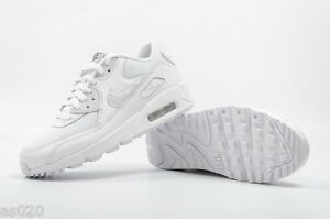Nike Air Max 90 Mesh GS Junior Kids Girls  Boys Trainers Shoes - White 3 to 6