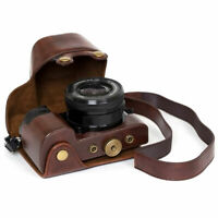 Leather Case bag strap Camera for Sony Alpha a6000 A6300 With 16-50mm Lens!