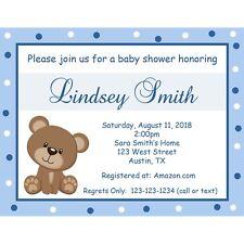 20 Personalized Baby Shower Invitations - Teddy Bear - Blue Polka Dot