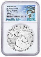 2019 Tuvalu Simpsons Homer 1oz Silver $1 NGC MS69 FDI Pacific SKU57996