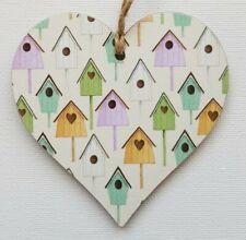 Handmade Wooden Hanging Heart Door Hanger Beautiful Birdhouses Print