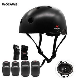 Adult Skateboard Helmet Pads Set Knee Elbow Brace Wrist Support BMX Bike Skate