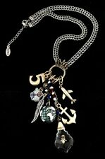 NEW HULTQUIST NECKLACE SILVER PLATED CHAIN CRYSTALS GLOBE ANCHOR MENY PENDANT