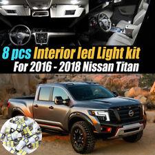 8Pcs Super White Car Interior LED Light Kit Pack for 2016-2018 Nissan Titan/XD