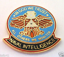 NAVAL INTELLIGENCE IN GOD WE... Military Veteran US NAVY Hero Hat Pin 15424 HO