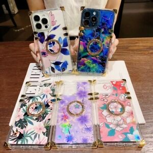 Clear Flower Leaf Square Phone Case For iPhone 11 12 13 Pro Max XR XS 6 7 8 SE