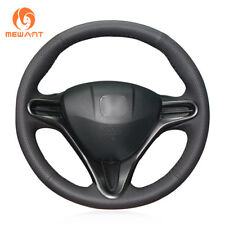Black Leather Steering Wheel Cover for Honda Civic Civic 8 2006-2009 (3-Spoke)