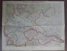 GRANDE CARTE GEO. ANCIENNE EN COULEURS 1920 ALLEMAGNE POLOGNE TCHECOSLOVAQUIE