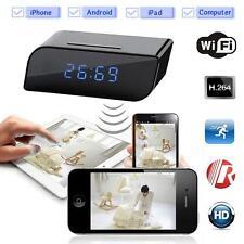720P HD Wireless Wifi IP Clock Spy Hidden Camera IR Security Network Web Cam DVR