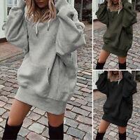 ZANZEA Womens Knit Hoodie Sweatshirt Casual Sweats Tops Jumper Mini Dress Blouse