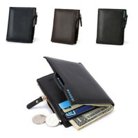 Men's Leather Short Money Clip Bifold Wallet Coin Purse ID Credit Card Holder