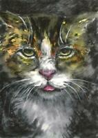 ACEO cat red grey animals original painting watercolor art card