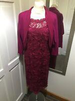 JACQUES VERT Raspberry Purple Crochet Overlay Pencil Dress Size 12 & Bolero