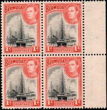 Bermuda 1938 KGVI  1d Black & Red   SG.110 Mint (MNH*)  Block of 4 With Margin