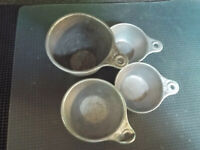 Four Vintage Metal Tin Aluminum Embossed Measuring Cups With Handles