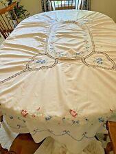 Beautiful Vintage Hand-Embroidered & Ecru Crotchet Design Tablecloth