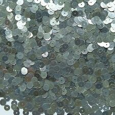 6mm Flat Loose Sequin Paillette Semi Matte Silver Made in USA