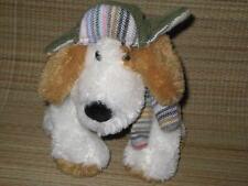 Mary Meyer White & Tan Plush Puppy Dog w/ Hunters Cap & Scarf Stuffed Animal Toy