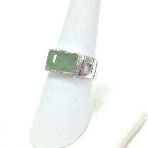 GSI Designer 925 Sterling Silver Green Jade Gemstone Band Ring Sz 7.75 Jewelry