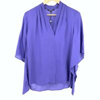 Kobi Halperin NEW Womens Size S Pleated V Neck Split Sleeve Purple Blouse Top