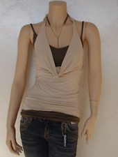 Women's Double Layer Cowl Neck Singlet/ Halter Neck Top Cami NEW/ Tags Khaki L