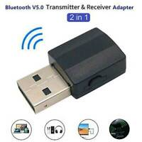 2-in-1 USB Bluetooth Audio Transmitter Receiver Adapter 3.5mm for TV PC Car AUX