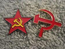 RUSSIA HAMMER & SICKLE & Red Star Sickle 2 Pin Set Communist,C C C P