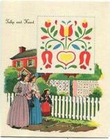 VINTAGE RED HOUSE VICTORIAN GIRL WOMAN RED HOUSE WALKING TULIP HEART QUILT CARD