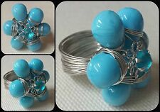 Large Turquoise & Silver Wire Wrapped Glass & Crystal Cluster Statement Ring